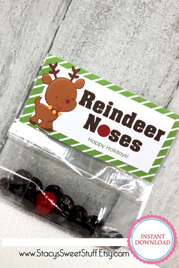 DIY Printable Bag Topper: Reindeer Noses by StacysSweetStuff