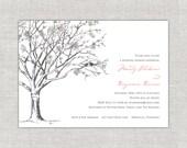 Romantic Love Birds Bridal Shower Invitation, Cherry Blossoms, Sakura, pink and gray. Blush