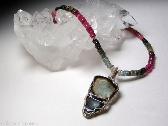 Stunning Watermelon Tourmaline Micro-Faceted Necklace with Wire Wrapped Tourmaline Pendant // Heart Chakra Stones, Crystal Healing Jewellery