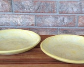 Handmade Caribbean Yellow Ceramic Stoneware 6 ounce Pasta, Rice, Vegetable, Meatloaf Plates ~ Set of 2