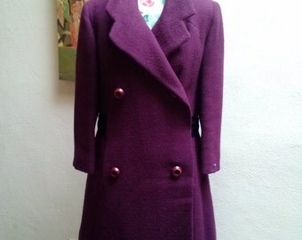 Purple Princess///vtg 60's 100% Wool Dan Millstein Marilyn Monroe High Collared Belted Mod Princess Pea Coat///SZ S/M