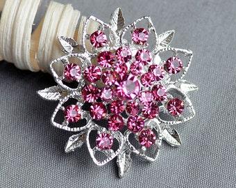 5 Rhinestone Button Embellishment Rose Pink Crystal Bridal Hair Comb Wedding Brooch Bouquet Invitation Cake Decoration BT276