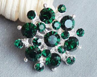 5 pcs Large Rhinestone Button Embellishment Dark Emerald Green Crystal Wedding Brooch Bouquet Invitation Cake Decoration BT195