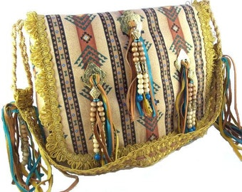 Gold conchos, beaded, leather, fringe, faux suede  (The Santa Fe Bag)