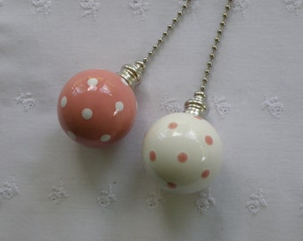 Pink Polka Dots - Set of 2 - Pottery Ball Ceiling Fan Pulls - Handmade in the USA - Nickel or Brass Hardware