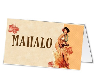 Printable digital beach hula party tent labels for food of thank you tags etc matches invitation