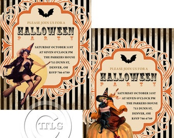 You Print Halloween party invitation DIGITAL customize