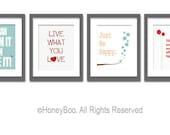Art prints, posters, room decor, wall art, typography print, set of four positive art prints