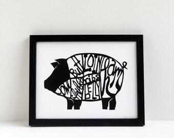 Pig butchery chart - papercut print