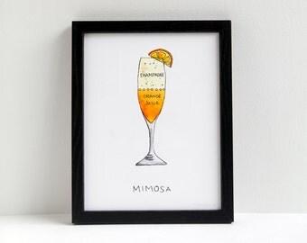 Mimosa - cocktail art print