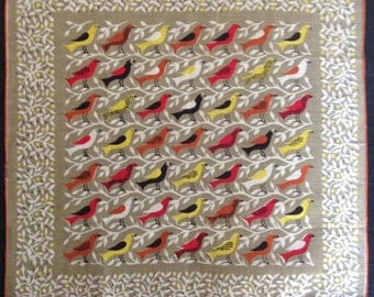 Vintage Betty  Anderson Handkerchief with Birds and Branches (H-20)
