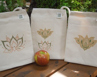 Recycled cotton lunch bag - Lotus - THREE OPTIONS, you choose your favorite one
