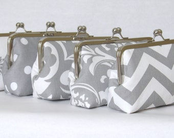 SALE 20% OFF 5 Premier Print Bridesmaid Clutches,Grey And White Custom Clutches,Bridal Accessories,Bridesmaid Gifts