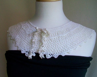 White vintage Handmade lace collar Reimagined for todays Boho - vintage chic fashionista