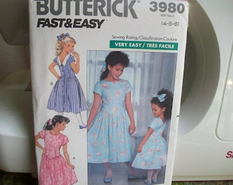Vintage Butterick pattern #3980 Fast and Easy Sizes 4 - 5 - 6 Unused