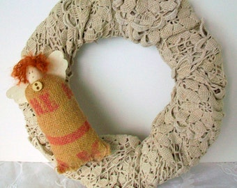 Fall wreath, Vintage lace remake, Ecru lace, Repurposed burlap angel embellishment, Country cottage chic