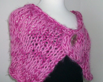 Warm pink shawl  Hand knit shoulder wrap Variegated pink yarn  Soft furry capelet with Vintage button closure