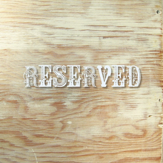 Reserved - Many Hands Designs