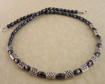 Hematite gemstone necklace with Celtic Knot Beads