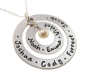 Hand Stamped Jewelry - Personalized  Sterling Silver Necklace - Two Washers with Freshwater Pearl