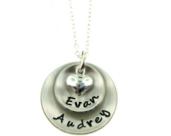 Personalized Necklace - Hand Stamped Jewelry - Domed Hand Stamped Personalized Sterling Silver Necklace for Mom - Two Pendants