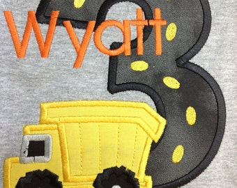 Greatstitch Dump Truck Construction Birthday Shirt 1st Birthday 2nd Birthday 3rd Birthday