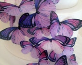 BUY 50 get 12 small FREE - purple wedding cake decoration - edible butterflies cake toppers - lavender wedding cake by Uniqdots on Etsy