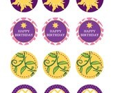Rapunzel themed cupcake toppers - printable party collection - 4 designs