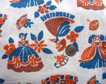 Vintage FEEDSACK Cotton Novelty Fabric  - PRETTY LADIES in Ball Gowns with Umbrella's, Fans & Presents  on White Background - 37 x 42