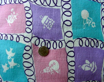 Vintage Feedsack Cotton Fabric - ADORABLE Novelty Feedsack Purple Pink Turquoise & White CHARMS  - 36 x 44