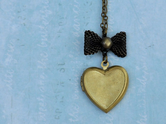 vintage heart locket necklace LITTLE BOW LOCKET antiqued mesh bow heart locket necklace