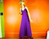70s Plum Halter Maxi Dress