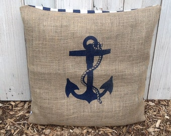 Nautical Anchor Throw Pillow Case, Eco Friendly and Handmade from a Recycled Coffee Sack CC