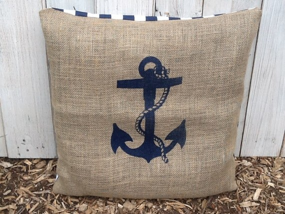 Nautical Throw Pillow Cases : Items similar to Nautical Anchor Throw Pillow Case, Eco Friendly and Handmade from a Recycled ...