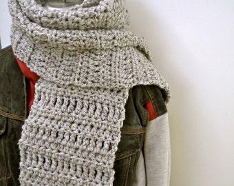 Scarf Gray Dude Scarf Grey Marble Crochet