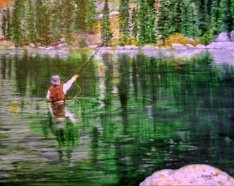 SALE Fisherman Signed Oil Painting D. Bourg Pine Trees Mountains Angler Casting Fish Line Pole ART