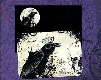 Halloween Cards & Sticker Seals Raven Happy Halloween