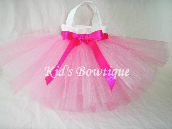 Set of 7 Pink and Hot Pink Mixed Tutu with Ribbon Party Favor Tutu Bags