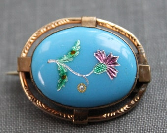 Victorian Turquoise Pique Scottish Thistle Brooch