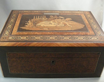 Antique Jewelry Box, Inlaid Marquetry Swan Design Jewelry Box, Marquetry Decorative Document Box Collectibles USA SHIPPING ONLY