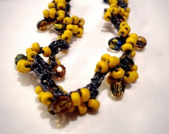 Dixie's Necklace in Mustard and Charcoal