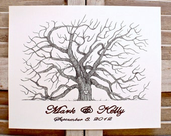 X-Large Hand Drawn Fingerprint Guest book Wedding Tree, Live Oak in black with 2 ink pads  and pen.