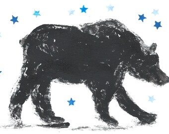 Bear art, Black and white bear with blue stars, geometric, handmade original ink mono print.