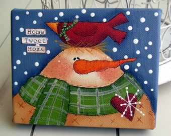 Home Tweet Home, Snowman and Red Cardinal Original  Painting|Snowman|Cardinal|Mixed-Media