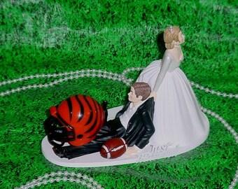 Cincinnati Bengals Football Fun Groom Funny Wedding Cake Topper- NFL Sports Fan