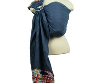 Linen Ring Sling Baby Carrier Baby Sling - Madras - FAST SHIPPING - Instructional DVD Included