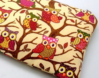 Large Zipper Pouch, Pencil Pouch, Gadget Bag, Cosmetic Bag, Little owls (ZL-1)