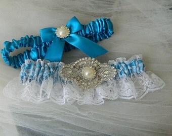 Wedding Garter,Garter Set,Bridal Garter,Turquoise With White Chantilly Lace And Rhinestone Embellishment