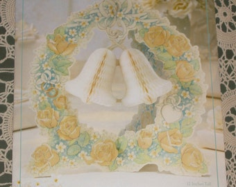 Wedding Roses Centerpiece, teal and yellow, Unused 80s Hallmark, daphne