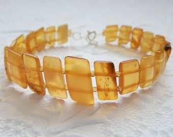 Charming Rich Honey Lemon Butterscotch Baltic Amber Parallelogram Beads Bracelet